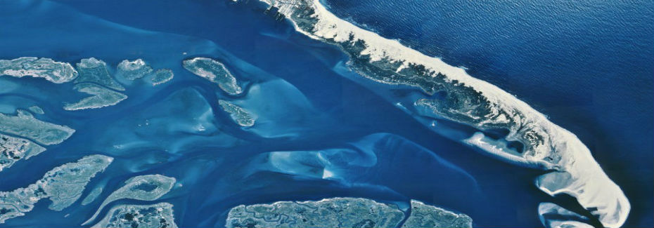 Photo showing the connection between the Barnegat Bay and the Atlantic Ocean, Ocean County, New Jersey