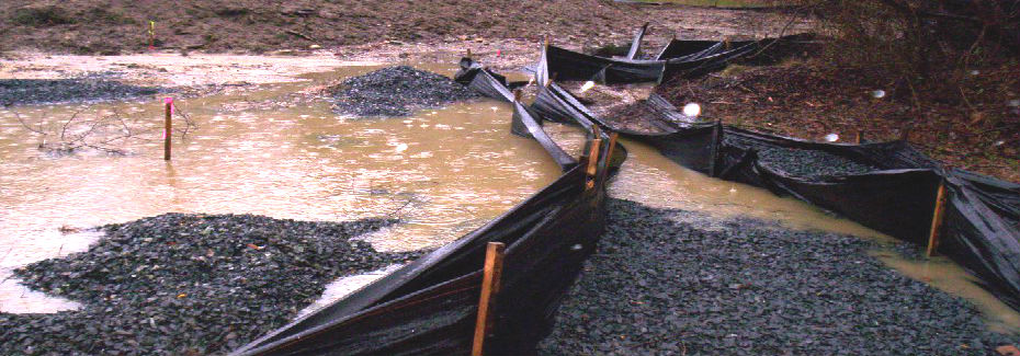 This image shows the improper use of a silt fence for erosion control practices.