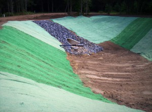 Erosion Control Matting on a Basin Slope
