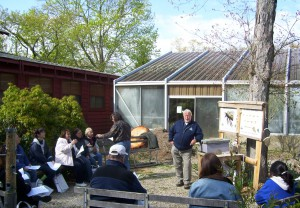 Terry O'Leary and McDuffy Barrow, of the Forest Resource Education Center, teach a group of educators about bees at the 2010 Environmental Educators Roundtable.