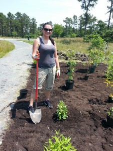 Steph planting a tree