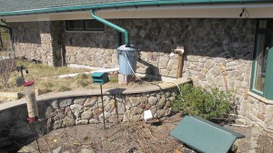 A do-it-yourself rain barrel in action at Jakes Branch County Park.